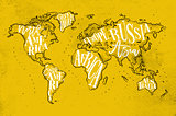 Worldmap vintage yellow