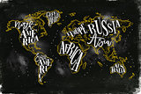 Worldmap vintage chalk yellow