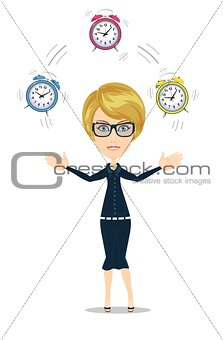 Time management concept with woman character.
