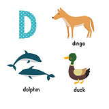 Cute zoo alphabet in vector.D letter. Funny cartoon animals: Dolphin, duck, dingo .