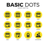 Shop flat icons vector set