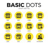 Shop flat icons vector set