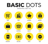 Shoping flat icons vector set