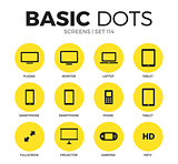 Screens flat icons vector set