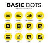 Password flat icons vector set