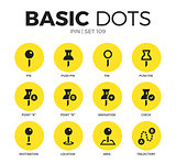Pin flat icons vector set