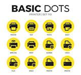 Printer flat icons vector set