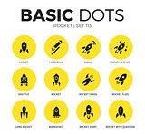 Rocket flat icons vector set