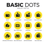 Wallet flat icons vector set