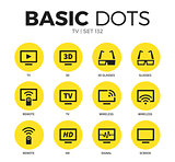 TV flat icons vector set