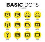 TV flat icons vector set