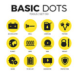 Tools flat icons vector set