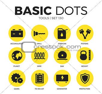 Tools flat icons vector set