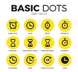Time flat icons vector set
