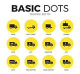 Trucks flat icons vector set