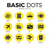 Travel flat icons vector set