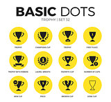 Trophy flat icons vector set