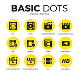 Video flat icons vector set