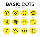 Zodiac flat icons vector set