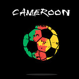 Flag of Cameroon as an abstract soccer ball