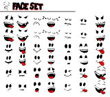 Retro Cartoon Emotion face set.