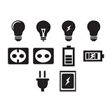 Flat black electric icon set