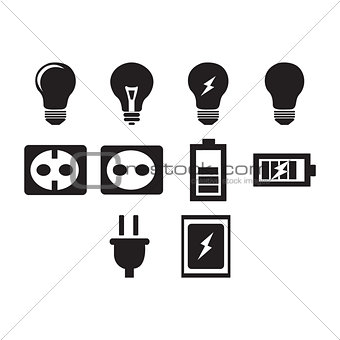 Flat black electric icon set