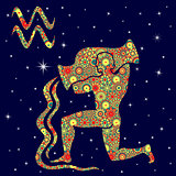 Zodiac sign Aquarius with variegated flowers fill over starry sk