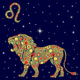 Zodiac sign Leo with variegated flowers fill over starry sky