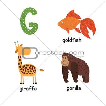 Cute zoo alphabet in vector.G letter. Funny cartoon animals: Goldfish giraffe,gorilla.