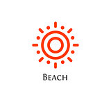 Isolated abstract round shape orange color logo, sun logotype, aim vector illustration