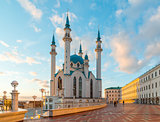 Kul-Sharif mosque in Kazan Kremlin in Tatarstan, Russia. At sunset