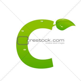 Green eco letter C vector illiustration