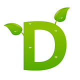 Green eco letter D vector illiustration
