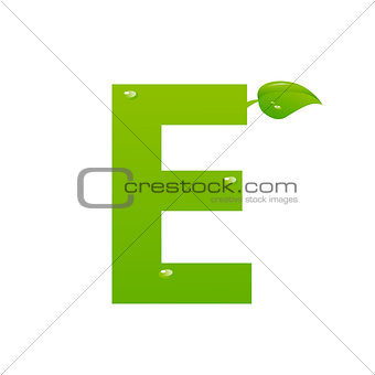 Green eco letter E vector illiustration