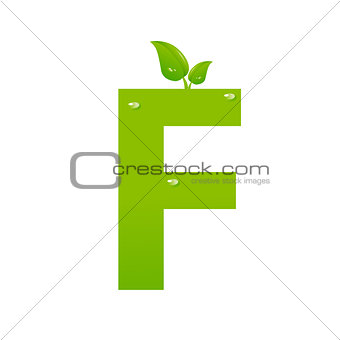 Green eco letter F vector illiustration