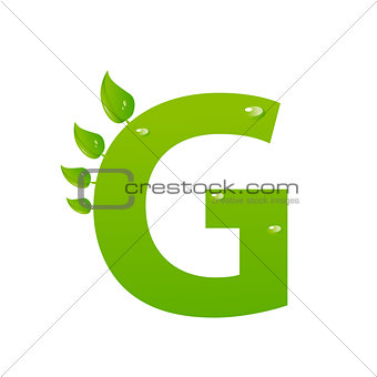 Green eco letter G vector illiustration
