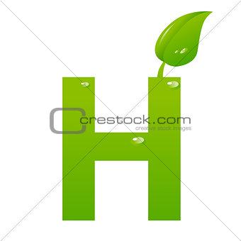 Green eco letter H vector illiustration
