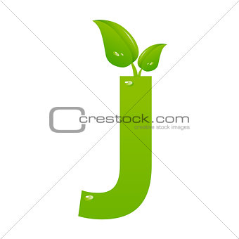 Green eco letter J vector illiustration