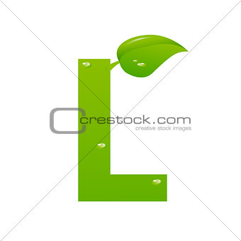 Green eco letter L vector illiustration