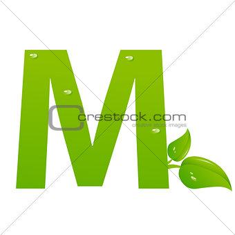 Green eco letter M vector illiustration