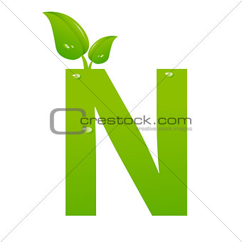 Green eco letter N vector illiustration