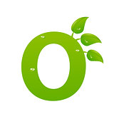 Green eco letter O vector illiustration
