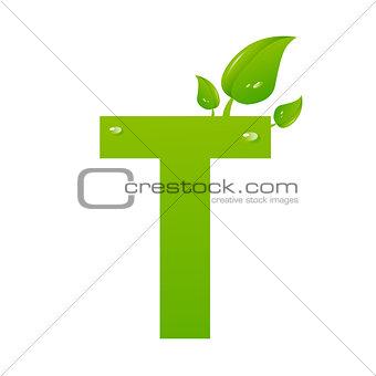 Green eco letter T vector illiustration