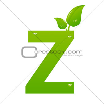 Green eco letter Z vector illiustration
