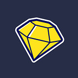 Yellow diamond vector icon in cartoon style