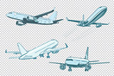 Set of passenger airplanes