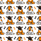 Seamless pattern: Dogs and bones. Vector background