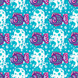 Seamless nautical pattern. Tropical fish and Jellyfish background.