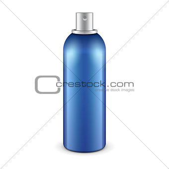 Blue Aerosol Spray Metal 3D Bottle Can: Paint, Graffiti, Deodorant. Mock Up Template Ready For Your Design. Vector EPS10